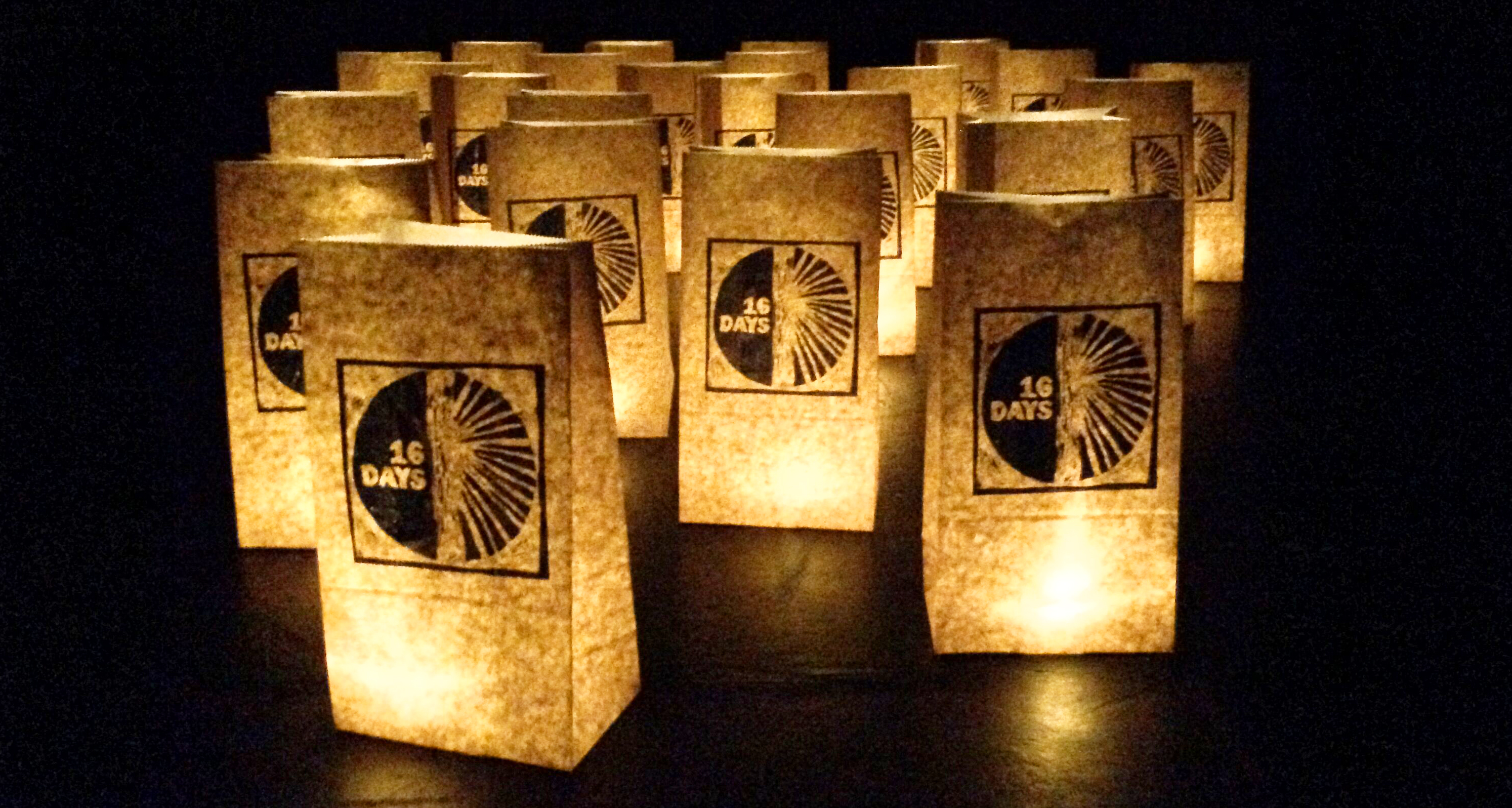 paper bag lanterns with 16 Days logo