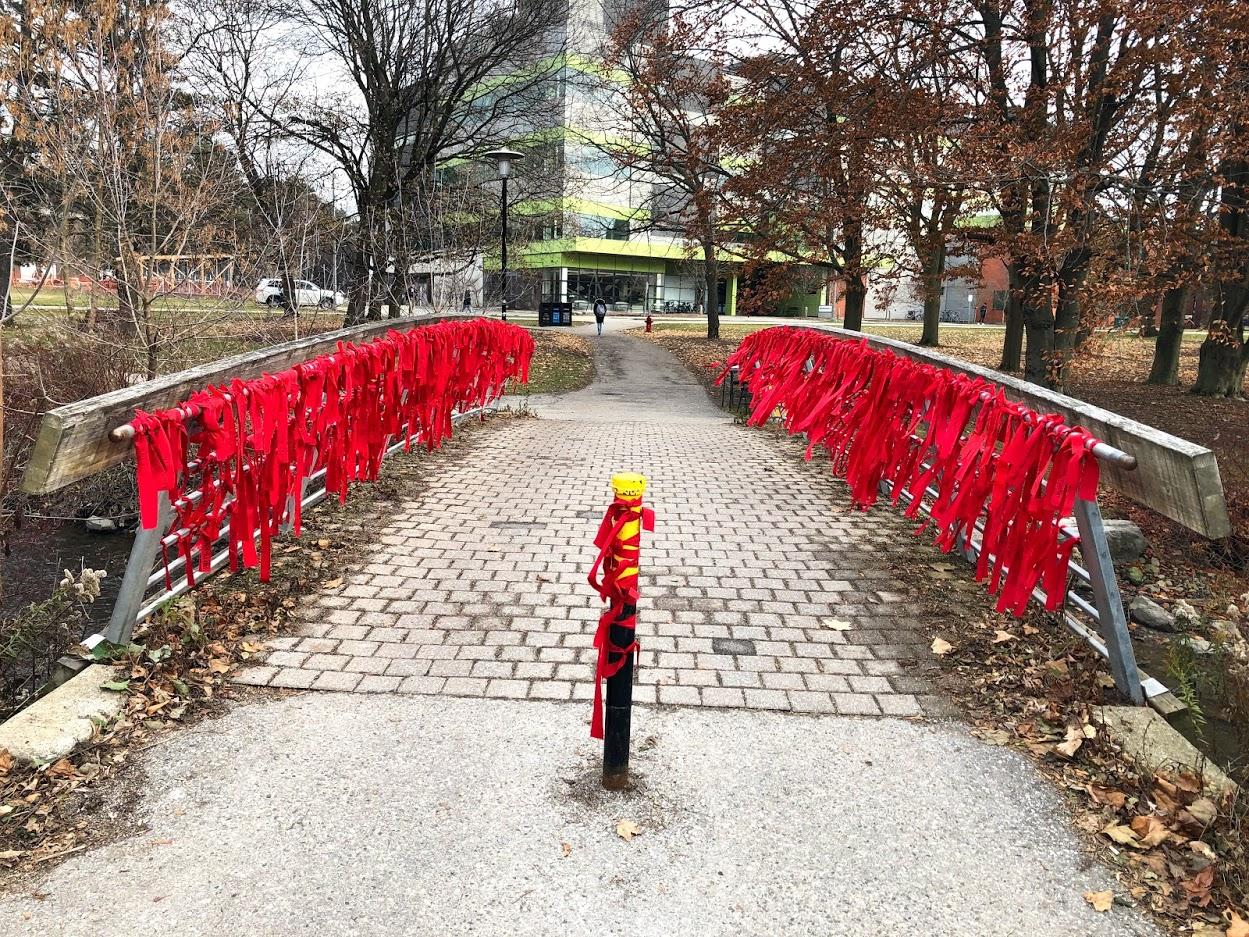 Red ribbons on bridge