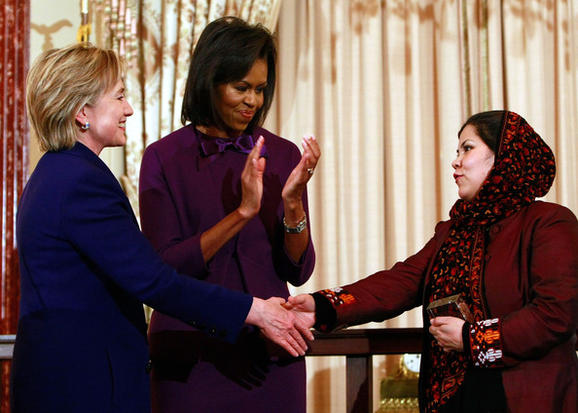 Wazhma Frogh meeting Hilary Clinton and Michelle Obama