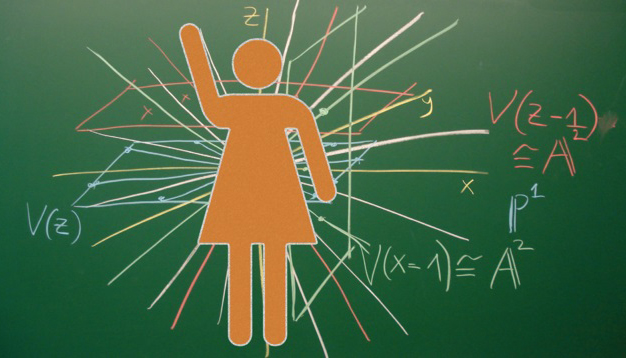female figure on chalkboard with formulas