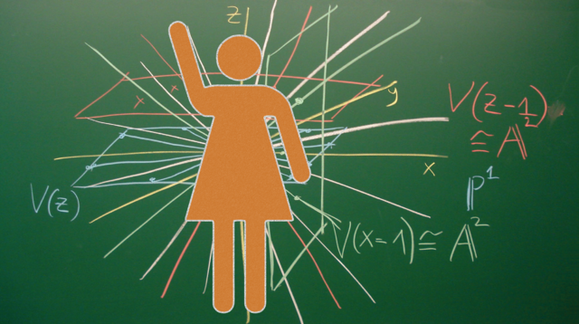 woman icon over chalkboard with mathematics