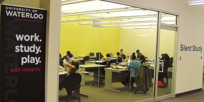 Integrity work.study.play. with integrity banner in Davis Centre library near silent study rooms