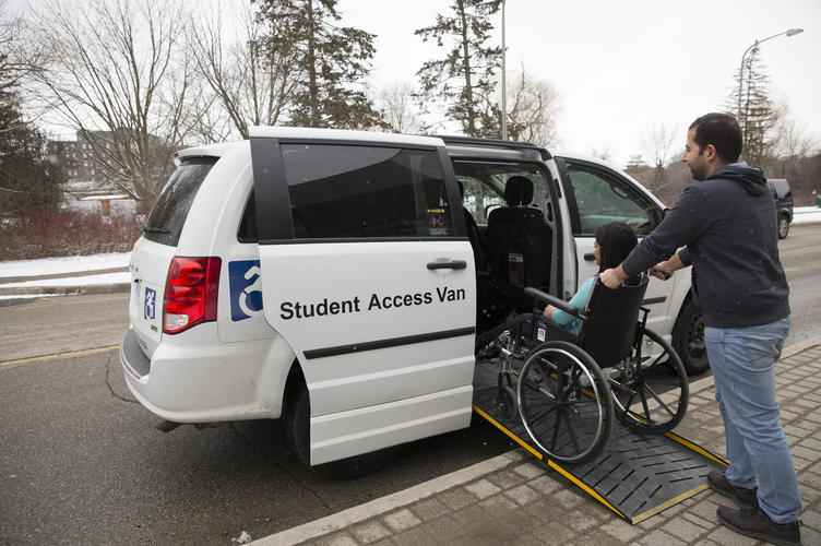 Passenger entering an accessible van