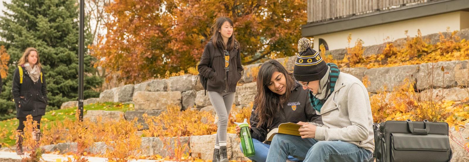 Students sitting on rocks studying