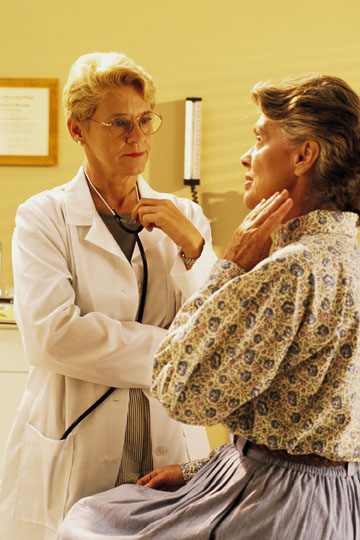 Older adult and doctor during an appointment.