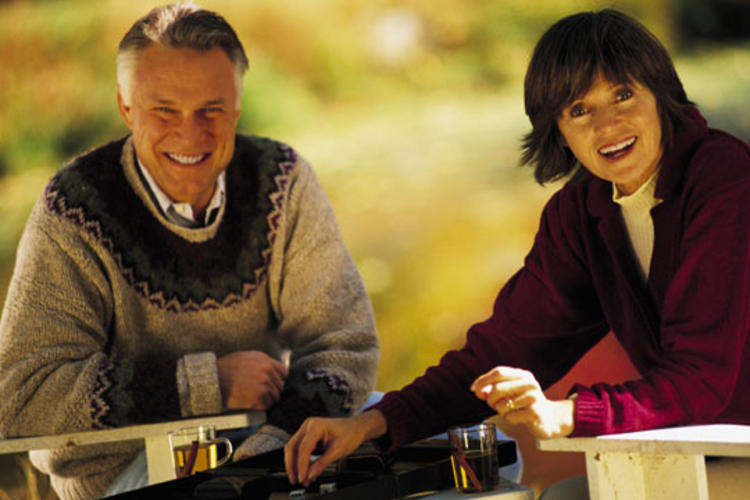 Older adult couple spending time outdoors.