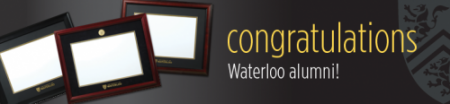 "image of 3 frames with text ""congratulations Waterloo alumni"""