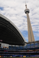 rogers centre with an open roof looking at CN Tower