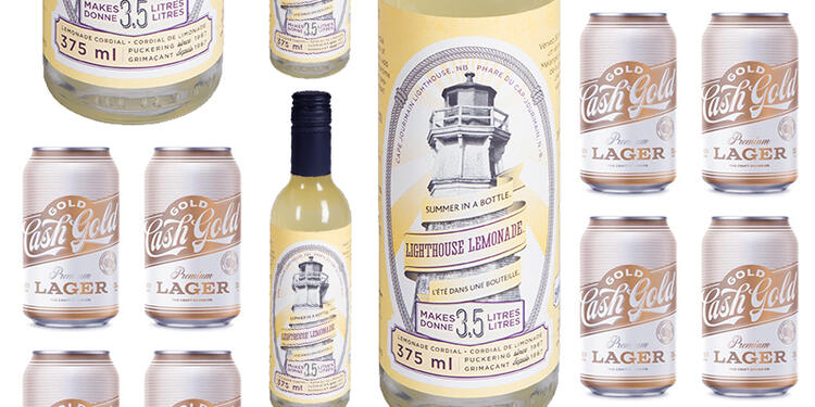 Beer and lemonade product shots