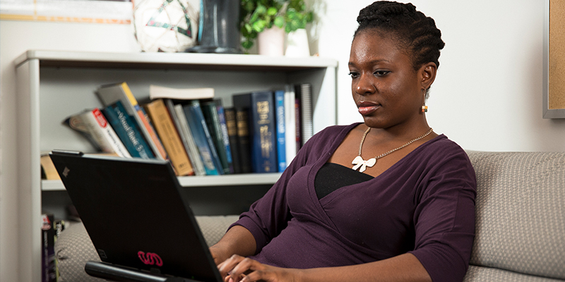 Female on a computer