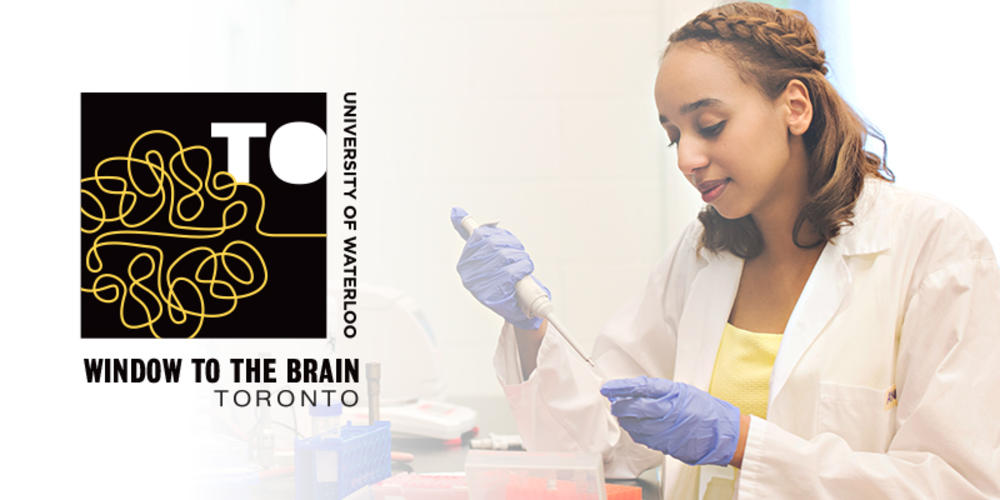 window to the brain logo and scientist in laboratory