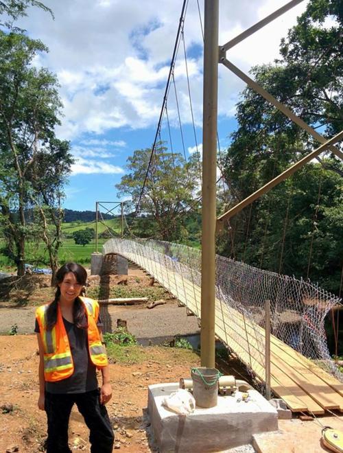 Alison beside the bridge in Panama