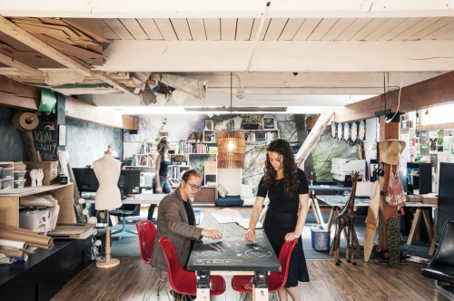 Azzopardi (left) and Robev (right) in the office of their 3,000 sq.ft design studio, downtown Victoria, BC