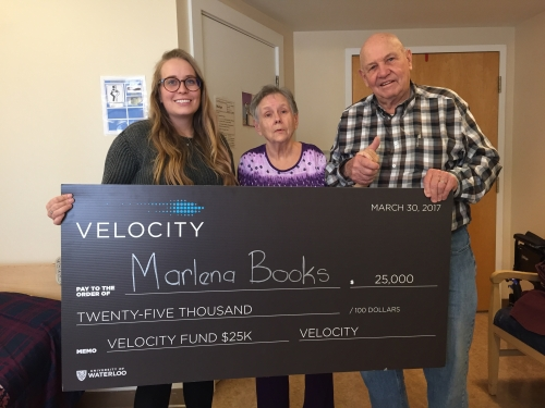 Rachael and her grandparents with the Velocity Fund Award