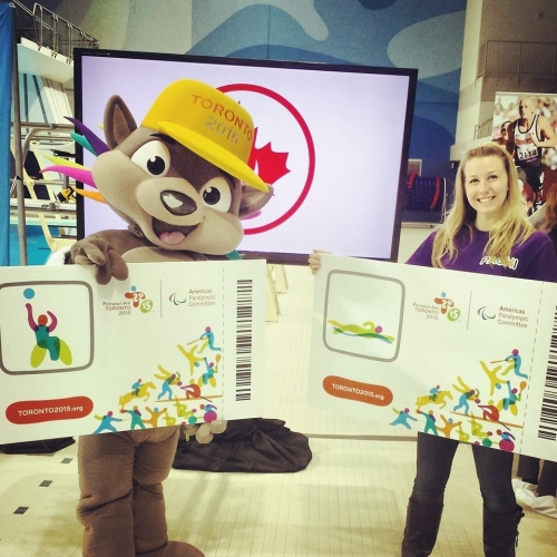 Jacquelyn and Pachi the mascot
