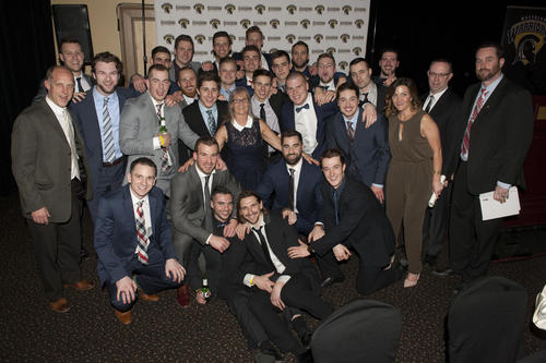 Mary Ann with the hockey team at the 2017 athletics banquet