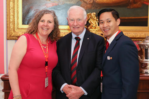 Tobi Day-Hamilton (Director, Communications and Strategic Initiatives, IQC), His Excellency the Right Honourable David Johnston, David Ha (Accounting Faculty, SAF)