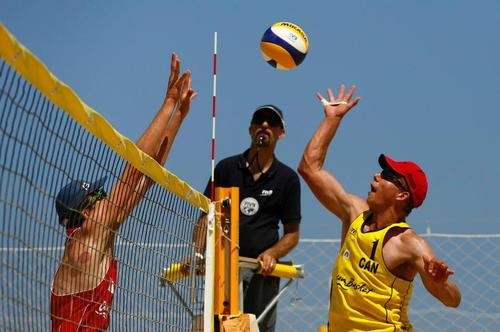 Lucas Palmer playing Beach Volleyball