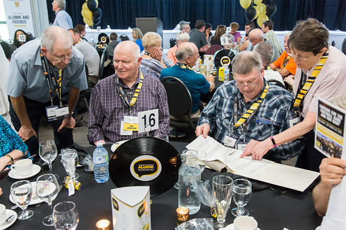 Alumni around a table