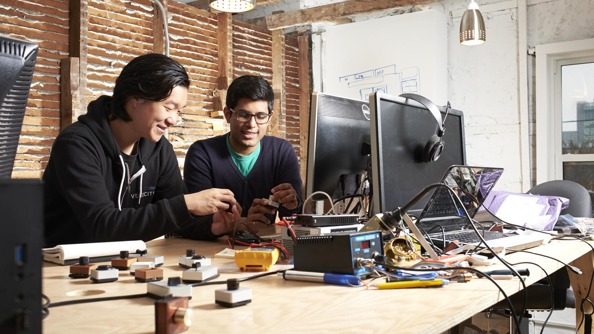 Calvin Chu working on prototype