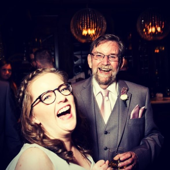Kate Teddiman laughing with her father