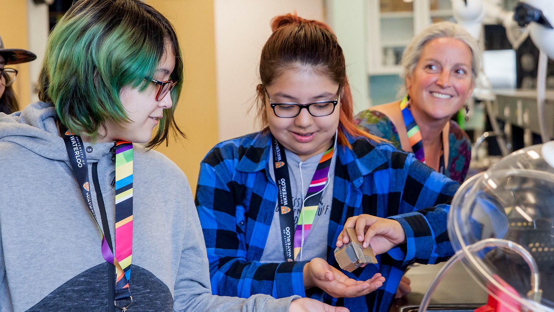Young girls discovering STEM