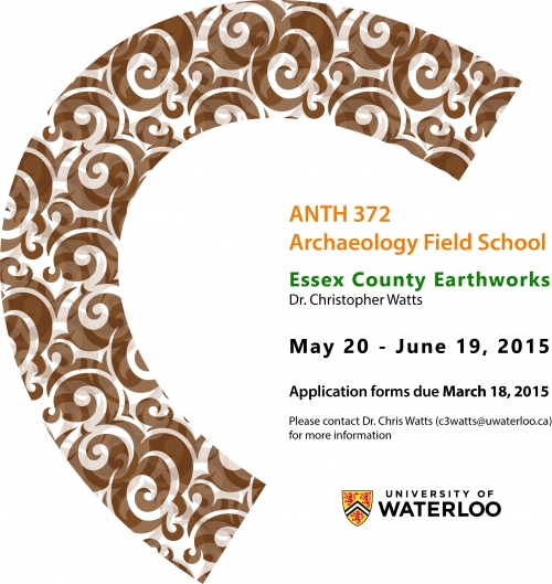 Taught by Dr. Christopher Watts from May 20 to June 19, 2015, at Essex County Earthworks. Application forms due March 18, 2015.