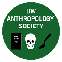 AnthSoc logo. Field notebook, skull, trowel