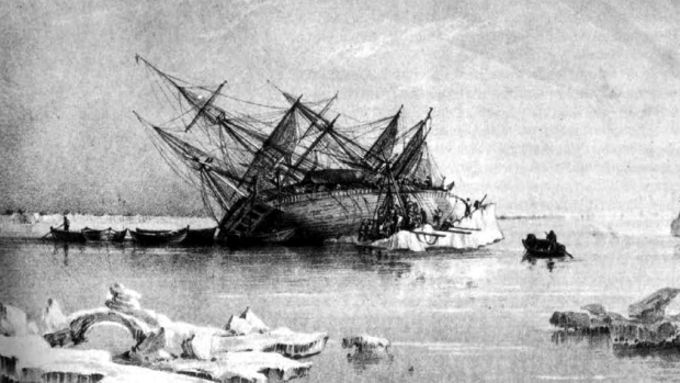 Engraving of the capsized HMS Terror
