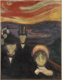Anxiety, oil painting by Edvard Munch