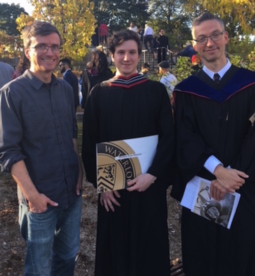 Graduate Matthew Ambacher (centre), along with Michael Waite (left) and Francs Poulin (right)
