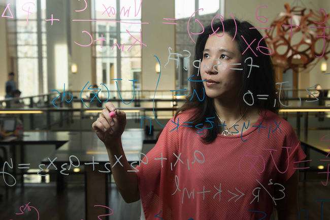 Anita Layton writing equations on a clear surface