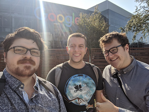 Guillaume Verdon, Michael Broughton and Trevor McCourt in front of Google headquarters