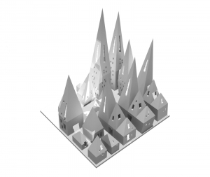 A clay rendering of a church design.