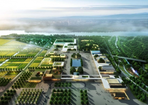 An aerial view ofOffice OU's design for Sejong Museum Gardens.