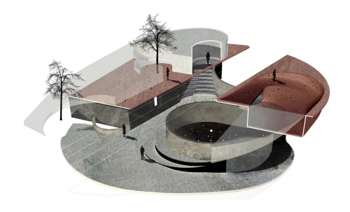 render of Eveline and Dave's Rome Concrete Poetry Hall