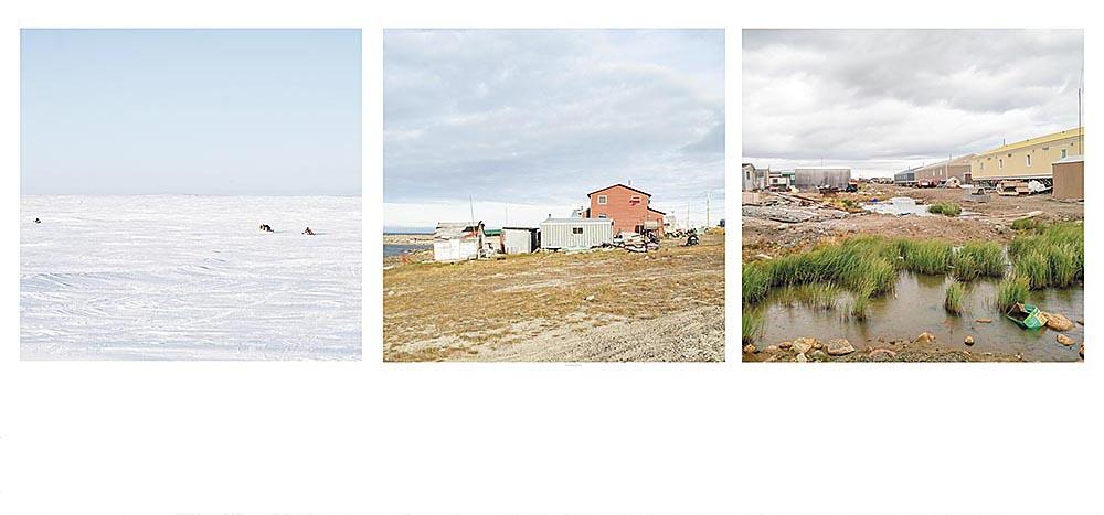 3 photographs of far north including housing and stark winter