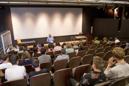 Professor Rick Haldenby speaking to students in the lecture hall