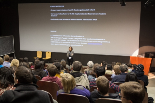 Ila Berman delivering a presentation in the Main Lecture Hall