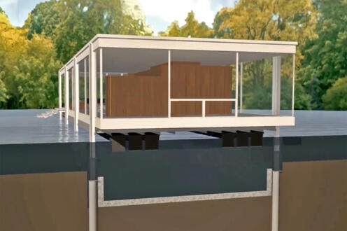 Amphibious retrofit system as applied to the Farnsworth House by Ludwig Mies van der Rohe (frame from animation)