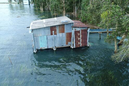 The second amphibious retrofit house in An Giang Province floating during the monsoon flood in 2018