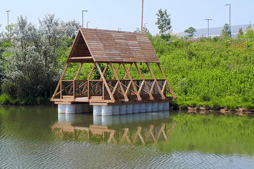 Experimental prototype of an amphibious pavilion located at the University of Waterloo's North Campus