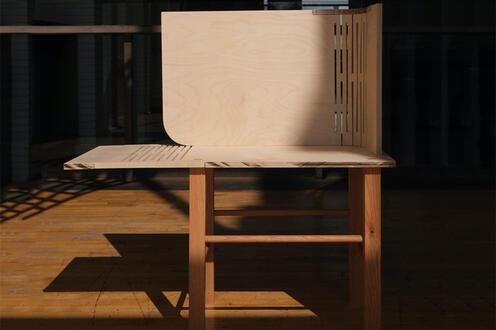 A chair for Ip Man, designed and constructed by Alyssa Tang in 2019 for ARCH 570, Chair Project Design-Build elective