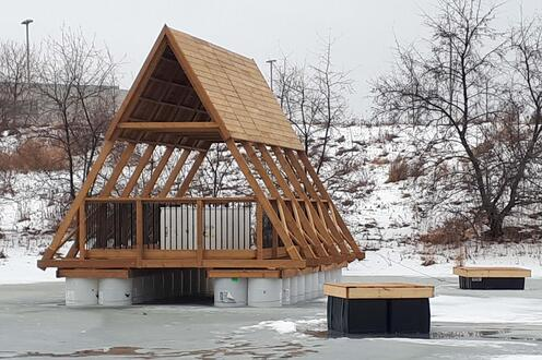 Testing the freeze-thaw response of the pavilion's buoyancy materials in winter