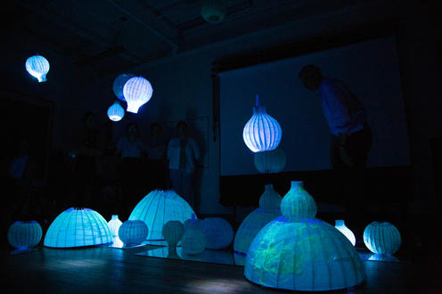 Rice paper domes  lit from the inside