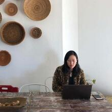 image of Fiona working at a desk