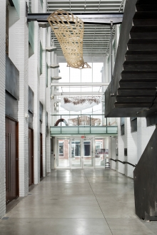 View of atrium and front entrance of the School of Architecture