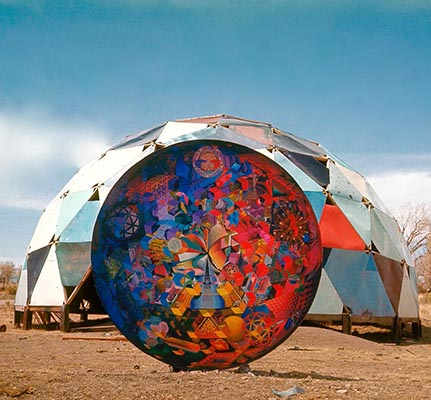 Geodesic dome with digital model superimposed
