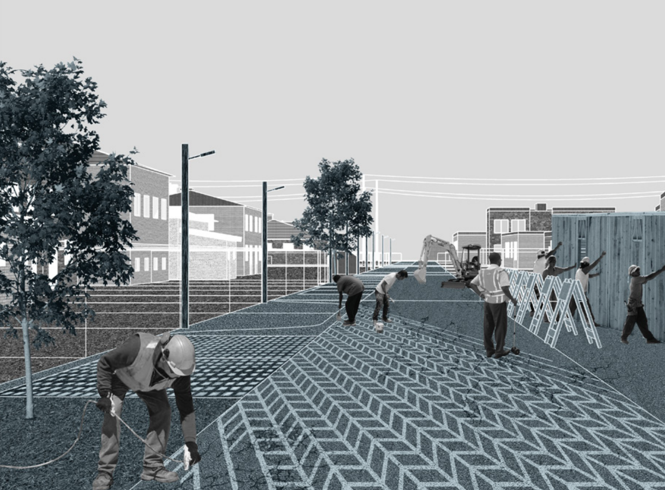 thesis image - workers on street