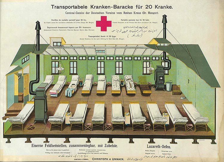 Portable hospital rendering from 1860's